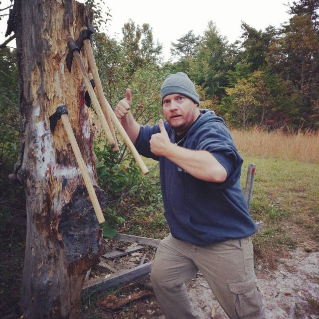 My husband doing ax throwing this weekend axthrowing